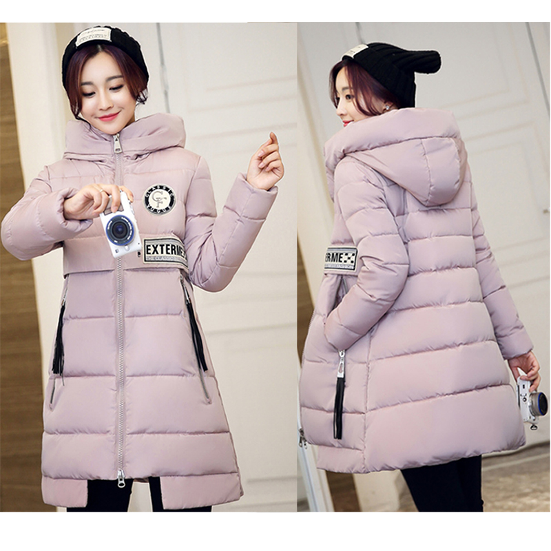 2016 European Style New Winter Female Down Cotton Jacket Long Thicken Coat Casual Warm Brand Women Hooded Parkas Overcoa hijklnl 2017 new winter female cotton jacket long thicken coat casual korean style women parkas overcoat hyt002