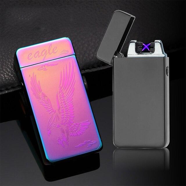 003c6ae95c9 Saiba mais. Inovação clássico Arco Duplo USB Isqueiro À Prova de Vento  Isqueiros De Plasma Eletrônico Recarregável Cigarro