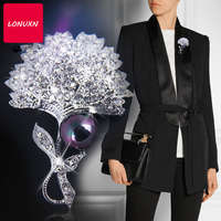 High quality fashion trend simple dandelion shape bow knot cute corsage European royal temperament brooch pins female party gift