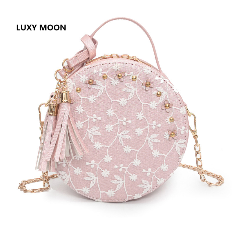 New Women Fashion Top- Handle Bags for Women Lace Floral Designer Flap Sac a main PU Leather Small Round Pink Messenger Bags A76 fashionable round neck back slit floral print tank top for women