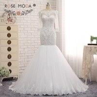 Rose Moda Heavily Beaded Mermaid Wedding Dress Scalloped Off Shoulder Half Sleeves White Bridal Dress Custom