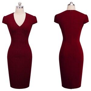 Image 4 - Agradable para siempre Vintage elegante de Color sólido Floral desgaste de trabajo Jacquard Bodycon Oficina vaina vestido de las mujeres B435