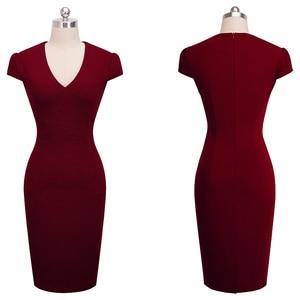 Image 4 - 素敵な永遠のヴィンテージエレガントなソリッドカラー花着用して作業するジャカード vestidos ボディコンオフィスシース女性ドレス B435