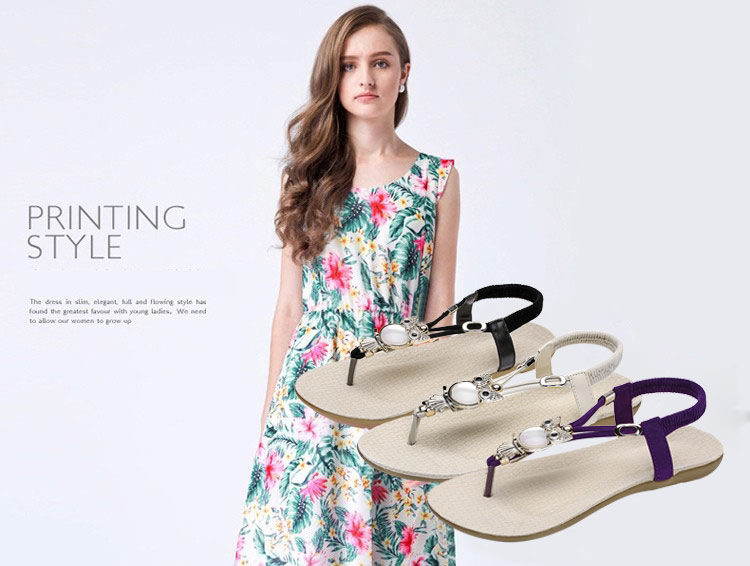 HTB1b3Q9XXkoBKNjSZFkq6z4tFXap Women shoes 2019 hot fashion women sandals elastic t-strap bohemia beaded owl slipper flat sandals women summer shoes flip flop
