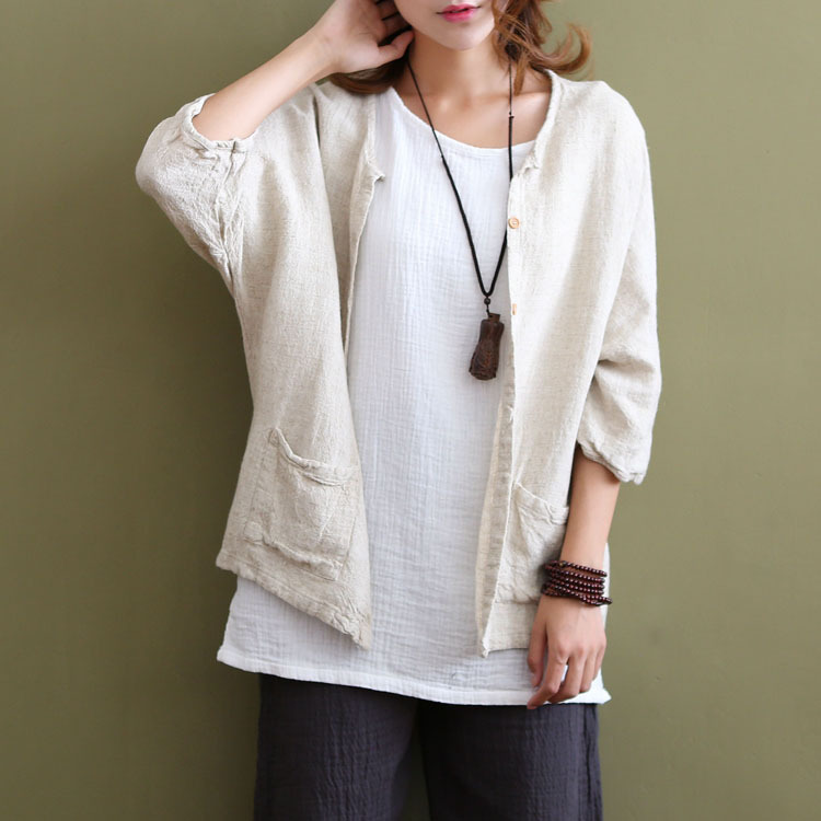 Women Spring Summer Cotton Linen Blouse Cardigan shirt Single breasted Pockets half Sleeve Solid Color Shirts