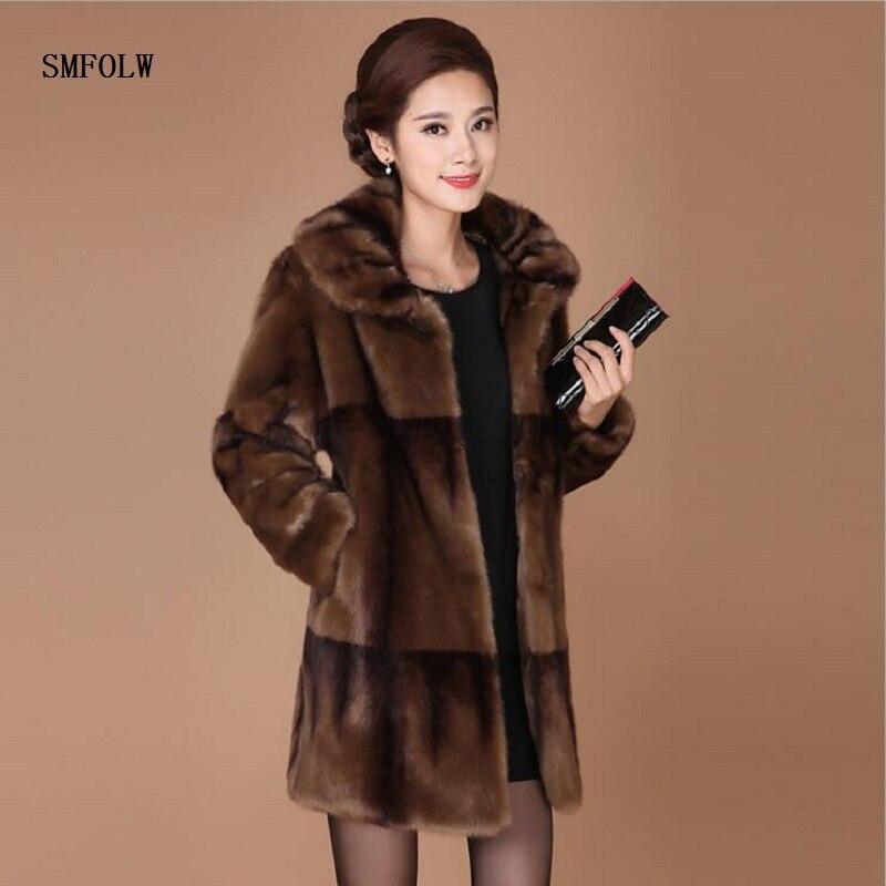 Smfolw Новинка 2017 года зимняя куртка пальто с искусственным мехом среднего возраста матери теплые большие размеры M 4XL Свободные Элегантный жа