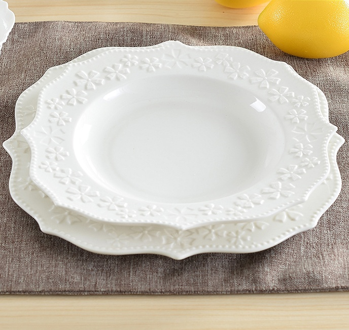 Embossed Ceramics Soup Dish and Flat Plate Set Decorative Porcelain Dinnerware Ornament Craft for Home Cafe and Restaurant-in Dishes \u0026 Plates from Home ... & Embossed Ceramics Soup Dish and Flat Plate Set Decorative Porcelain ...