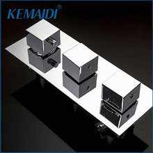 KEMAIDI Thermostatic 3 Ways Wall Mounted Bathroom Shower Mixing Valve Mixer Shower Faucets Valve Bath Shower Faucet Mixer Valve(China)