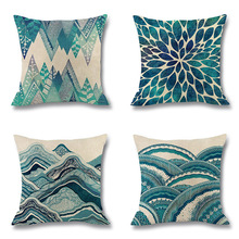 Wave Blue Cushion Cover Geometry Mandala Linen Pillow Covers Summer for Sofa Bed Decoration Home Living Room Fresh Decor 45x45cm цены