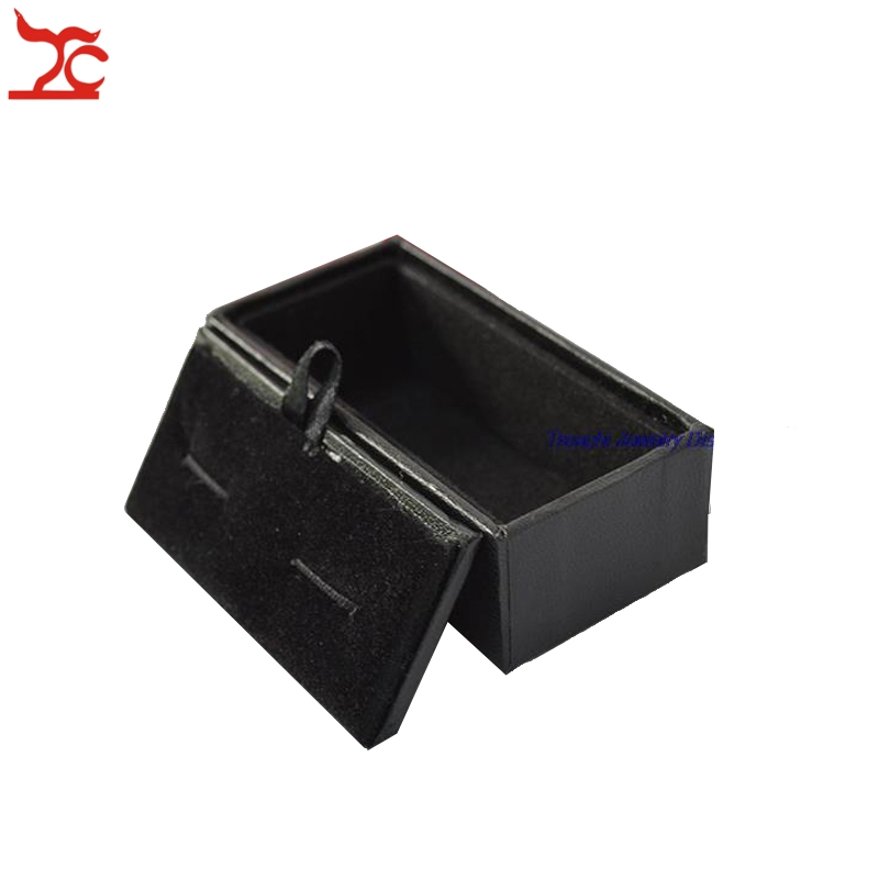 High Quality Mens Cufflinks Box Black Faux Leather Jewelry Cufflinks Storage Package Organizer Gift Box Case Holder 8x4x3cm