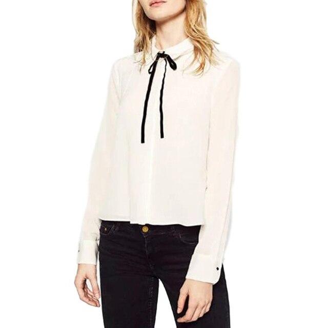 f732e6935f1 Женщины Сладкий Белый Декольте Уздечка двухслойный Ошейник С Длинным  Рукавом Блузка Женщины Лук Повседневная Рубашка Топы