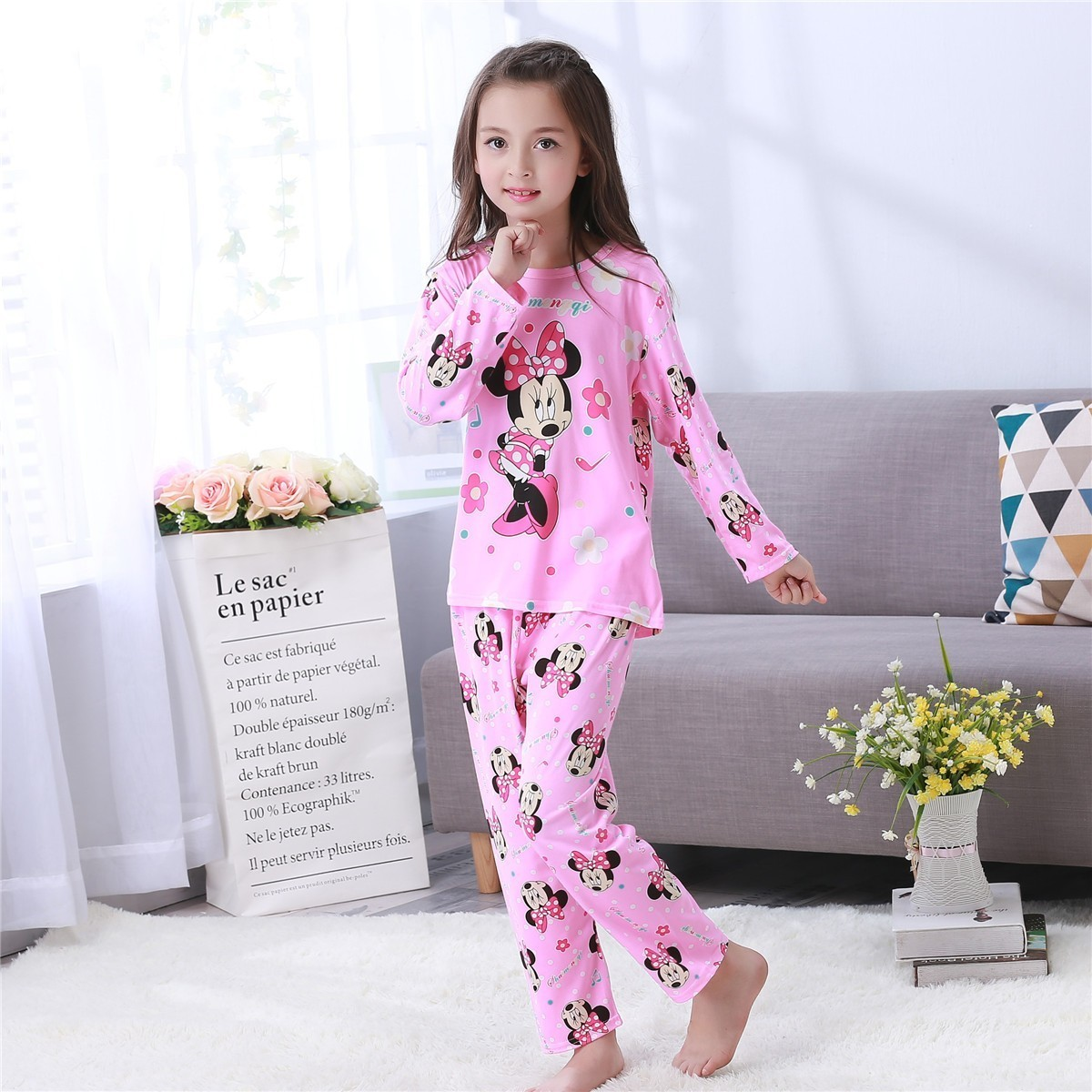 Pajamas Kids Sleepwear-Sets Long-Sleeve Girls Autumn Winter Cartoon Children Cheap Thin