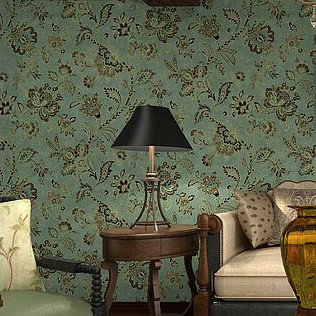 Vinyl Vintage Country Style Wallpaper For Living Room Fl Wall Papers Home Decor Dark Green