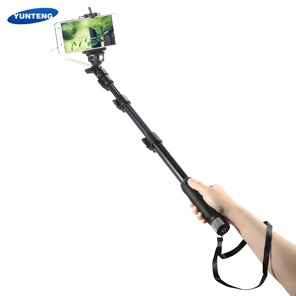 yunteng yt 1188 wired cable monopod selfie stick extendable self timer with phone clip for. Black Bedroom Furniture Sets. Home Design Ideas