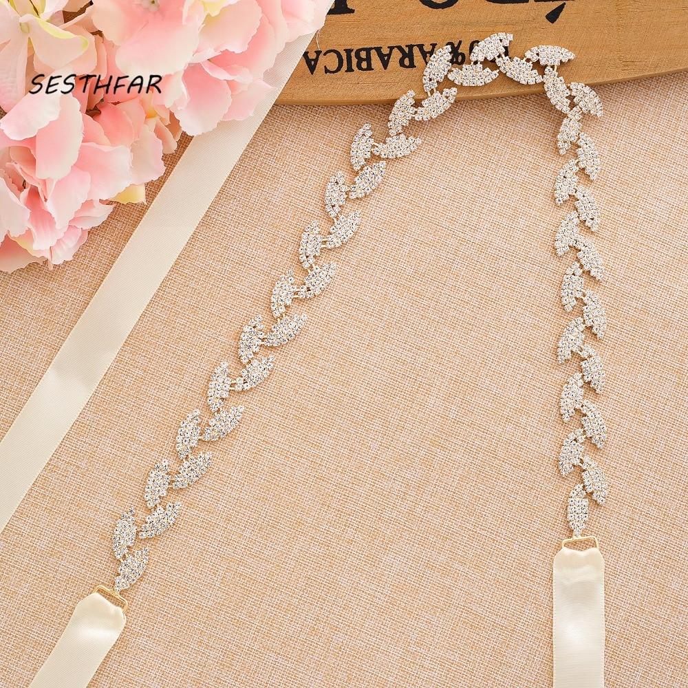 S198-G Wedding Belt For Bride Bridal Sash Gold Belt Dress Accessories Bride Waistband Wedding Sashes Bridal Belts