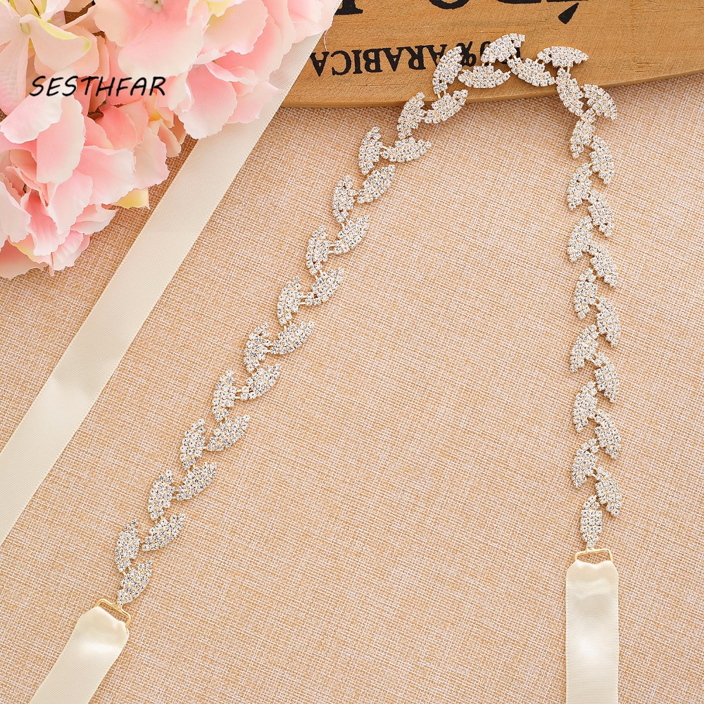 S198-G Wedding Belt For Bride Bridal Sash Gold Belt Dress Accessories Bride Waistband Wedding Sashes Bridal Belts