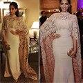 2016 Новая Мода Русалка Высоким Горлом Кружева Исламская Арабский Мусульманский Вечернее Платье Длиной до пола С Шалью Вечернее Платье