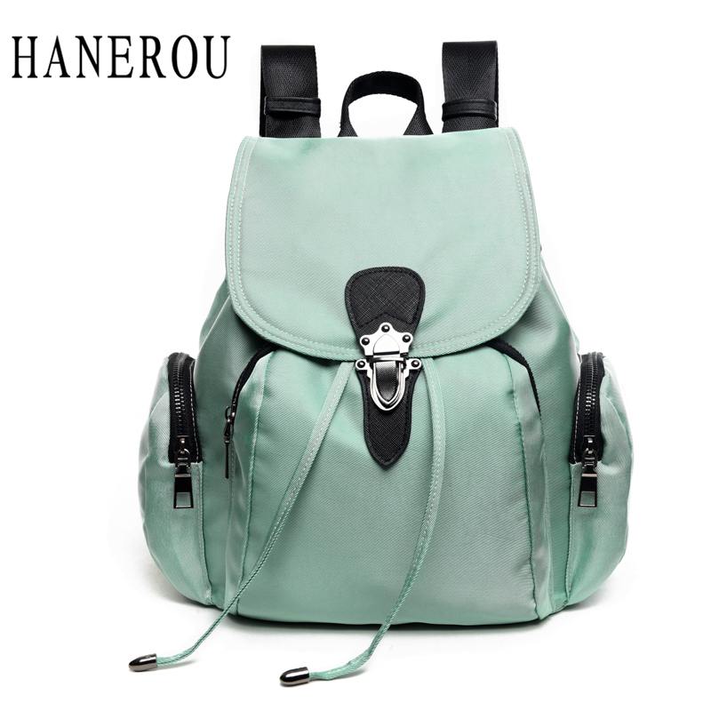 HANEROU Oxford Women Backpacks For Teenage Girls Mommy Travel Luggage Fashion Backpack Bag Pack Mochila Escolar Gril School Bags backpack women korean style school bags oil wax cowhide fashion backpacks for teenage girls mochila designer backpack travel bag