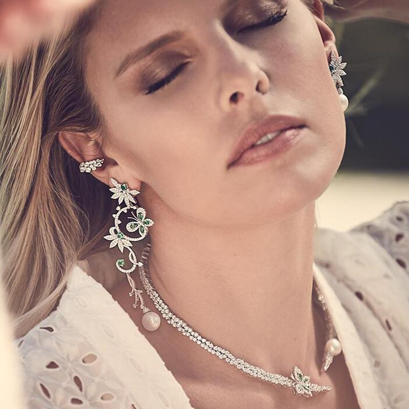 925 ensemble en argent Sterling diamant collier/boucles d'oreilles/Bracelets ensemble de mode papillon forme perles d'eau douce femmes ensembles de bijoux