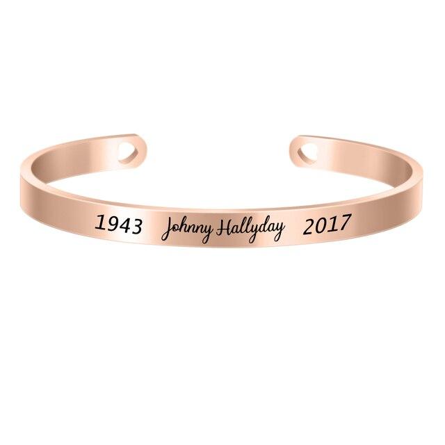 10 pièces trois couleurs personnalisé 6MM bracelet en acier inoxydable personnaliser français Rocker Johnny Hallyday Bracelets commémoratifs SL-068 * 10