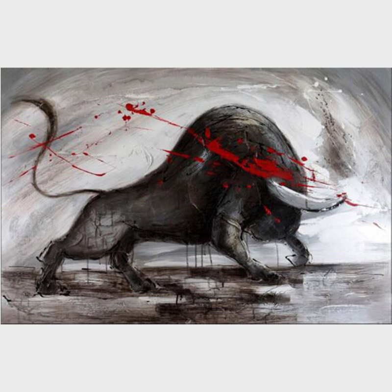 Wholesale High Quality New Design Handmade Modern Wall Art Decoration Canvas Bullfighting Oil Painting