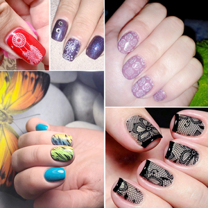 Image 5 - 1 Set Nail Art Stamping Plates Geometry Lace Animals With Sponge Stamper Scraper Stencils For Nail Polish Template LA804