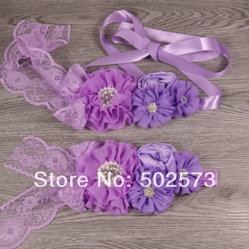 QueenBaby Official Store 8set/lot  Lavender Baby Girl Sash  Matching Baby Headband Photography Props  Flower Wedding Sash