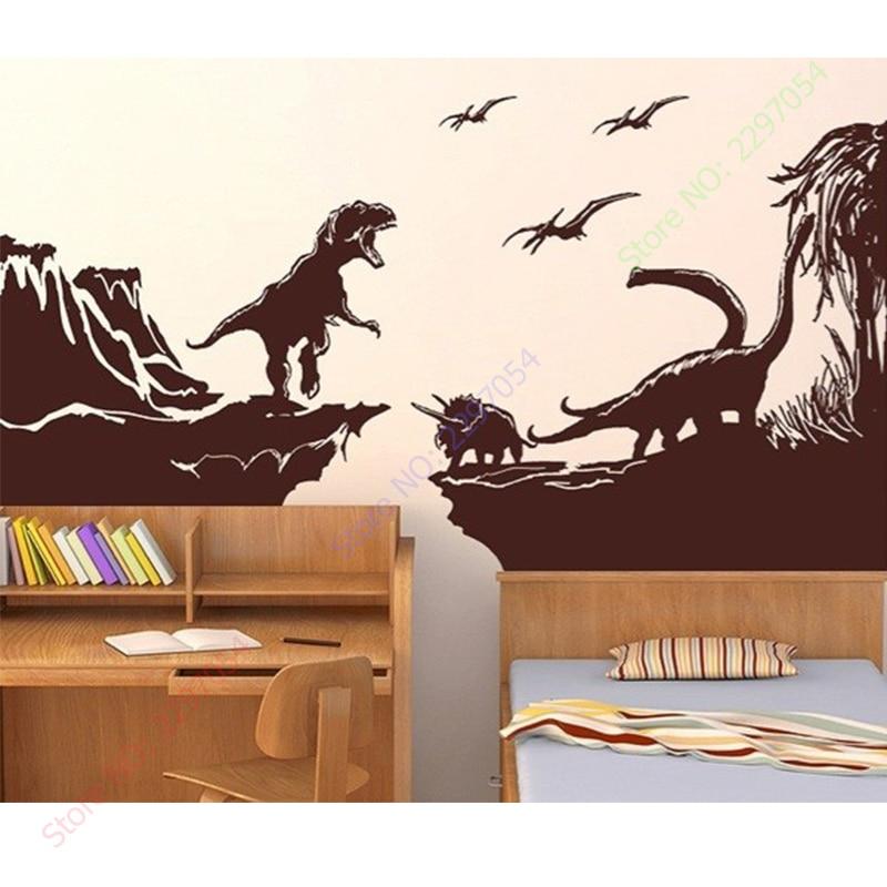 Dinosaur Jurassic Landscape World Skyline T-Rex Raptor wall decal sticker art.