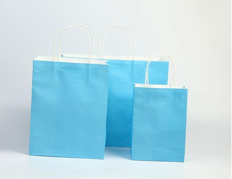 hemelsblauwe papieren zak