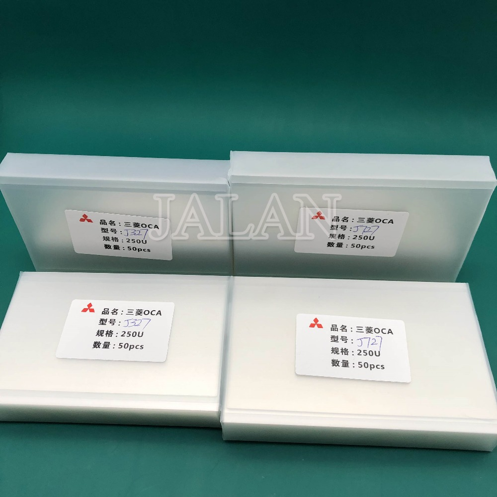 Jalan 50 Pcs 250um OCA Perekat untuk Samsung J327/J727 OCA Lem Sentuh Layar Kaca Lensa Laminating Digunakan untuk mitsubishi Film