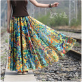 Marca Maxi falda 2016 del verano mujeres del estilo de la gasa de bohemia Boho Beach impresión Floral faldas mujeres plisado Saia Longa Sexy Feminina