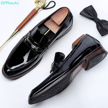 New Fashion Patent Leather Men Loafers British Style Square Toe Slip On Genuine Casual Flats Luxury Mens Shoe