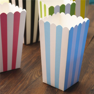 Image 3 - 6pcs Popcorn box colorful chevron stripes dot Gold Gift Box Party Favour Wedding Pop corn kid party decoration bags loot