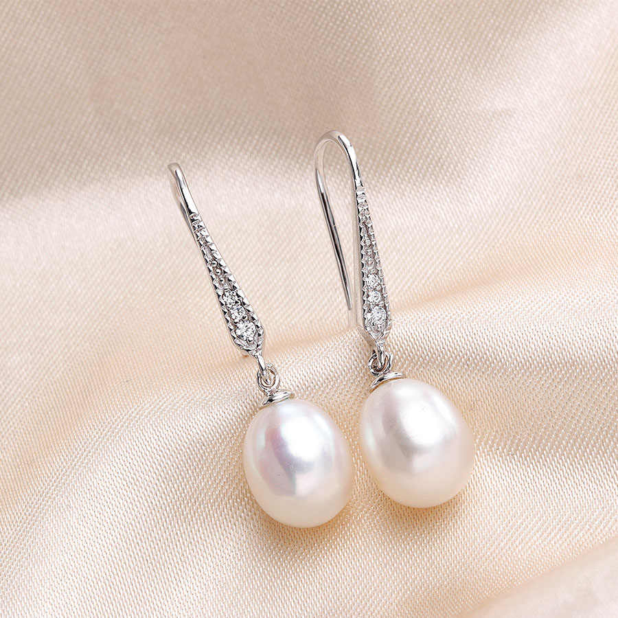Fashion Women Natural Freshwater Pearl Jewelry Sets High Luster Elegant 925 Sterling Silver Pendant +Long Earrings Lowest Price
