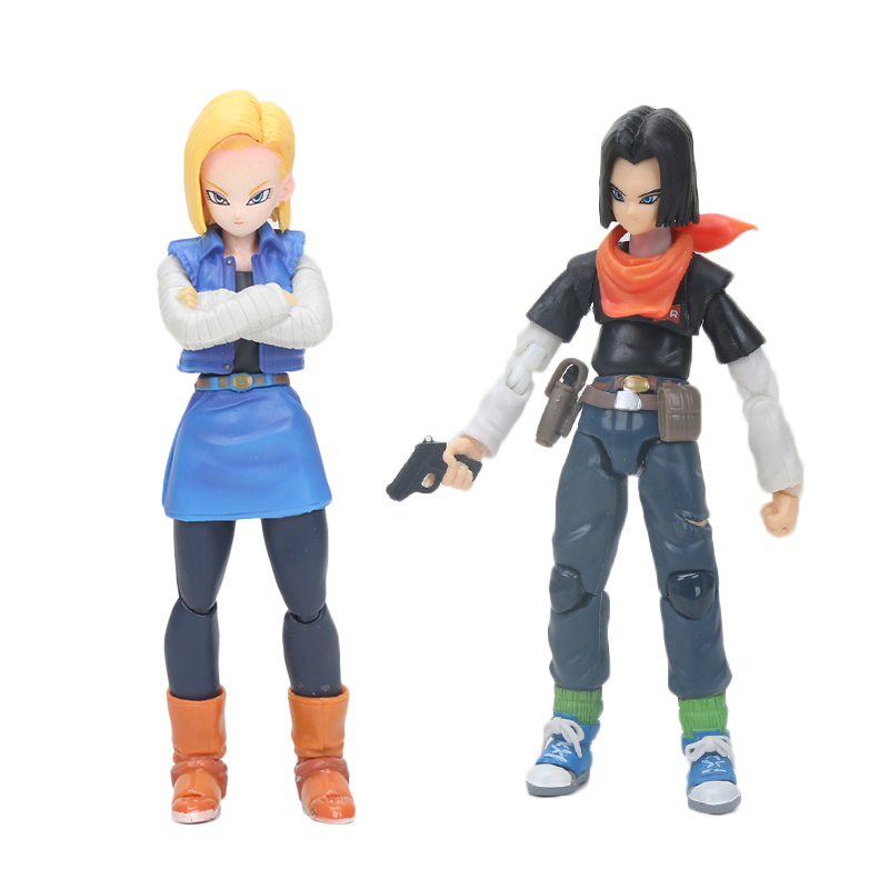 14CM Dragon Ball NO.17 Lapis NO.18 Lazuli Stand Bracket Model Support Steady PVC Action Figure Toy