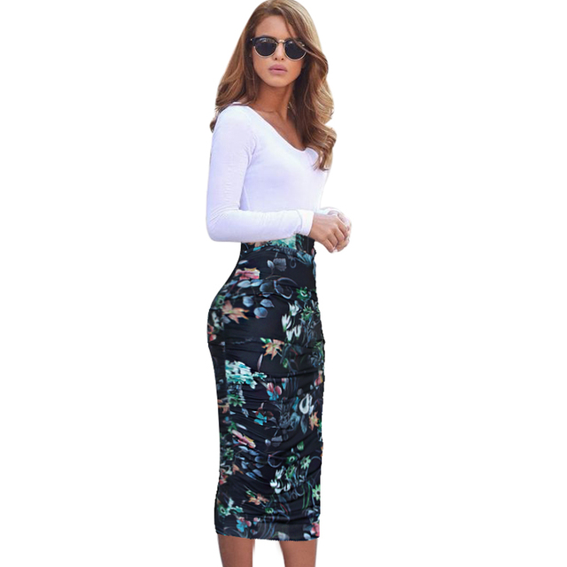 4f9c655a3c Vfemage Womens Elegant Ruched Frill Ruffle High Waist Work Business Casual  Party Club Pencil Sheath Midi Mid-calf Skirt 1877