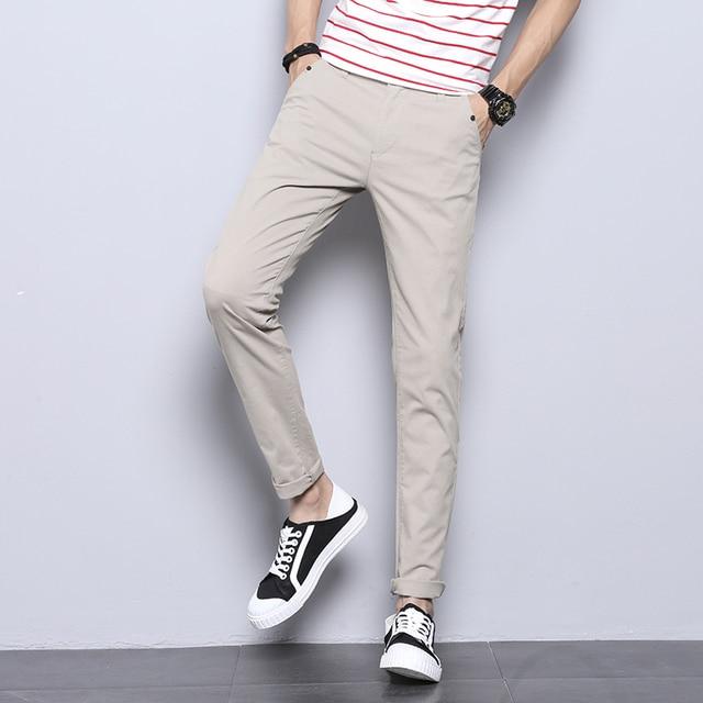 jantour 2018 New Casual Men Pants Cotton Slim Straight Trousers Fashion Business Design Solid Khaki Black Pants Men Plus Size 38 36