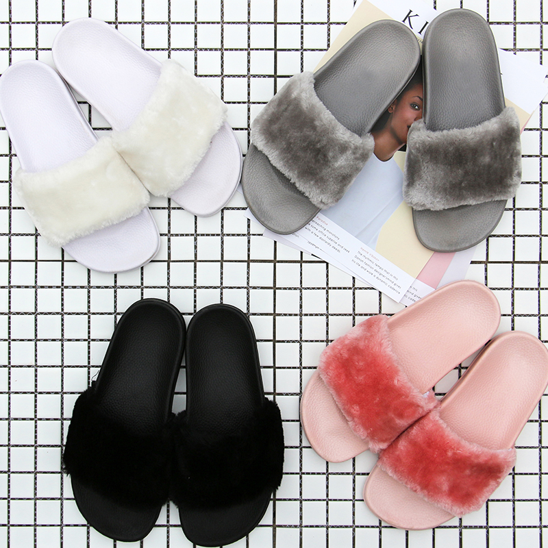 La Mujer 36 1 Pink Tamaño all Pink 2017 Zapatillas Flip Marca Slides Invierno Diapositivas light 44 Black Con all White Caseros Sandalias Flop Piel all Gray De gray brown White Zapatos Pluma 1 dark Fur Lujo 1 1 4ZqdId