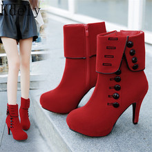 Fashion Women Ankle Boots High Heels Fashion Red Shoes Woman Platform Flock Buckle Boots Ladies Shoes Female PLUE 42