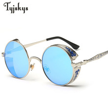 Retro Steampunk Sunglass Women Men Brand Designer Metal Carving Punk Mirror Gothic Sun Glasses Driving Men oculos de sol UV400