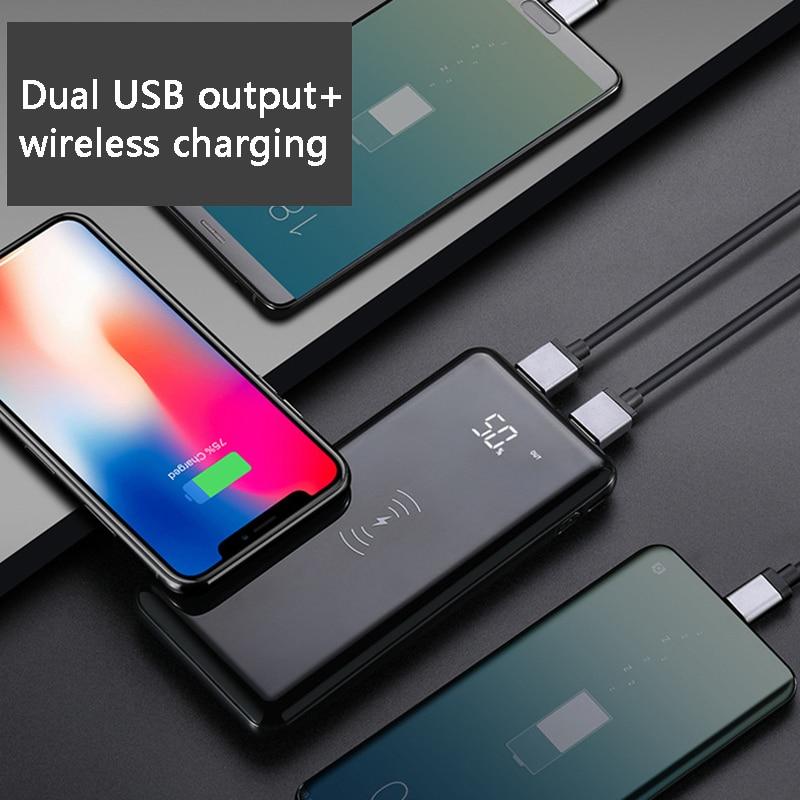 Großhandel preis Qi Drahtlose Ladegerät USB Power Bank 10000 mAh für iPhone X Samsung S8 5 V/2.1A schnelle ladung Tragbare Für Handy