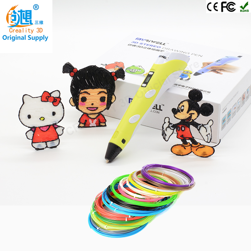 High Guality 3D Printing Pen1.75mm ABS/PLA Smart 3D Pen Drawing Pen+10m Filament+Adapter Creative Gift For Kids Design Painting 3d printing pen 1 75mm abs pla 3d pen 4 colors available for kids drawing with 200 meters 3d printer filament as gift