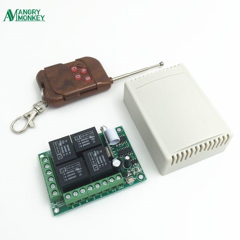 433 mhz interruptor de controle remoto sem fio universal dc12v 4 ch relé módulo receptor com 4 canais rf remoto 433 mhz transmissor