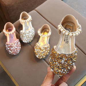 Summer Girls Shoes Bead Mary Janes Flats Fling Princess Shoes Baby Dance Shoes Kids Sandals Children Wedding Shoes Gold MCH118