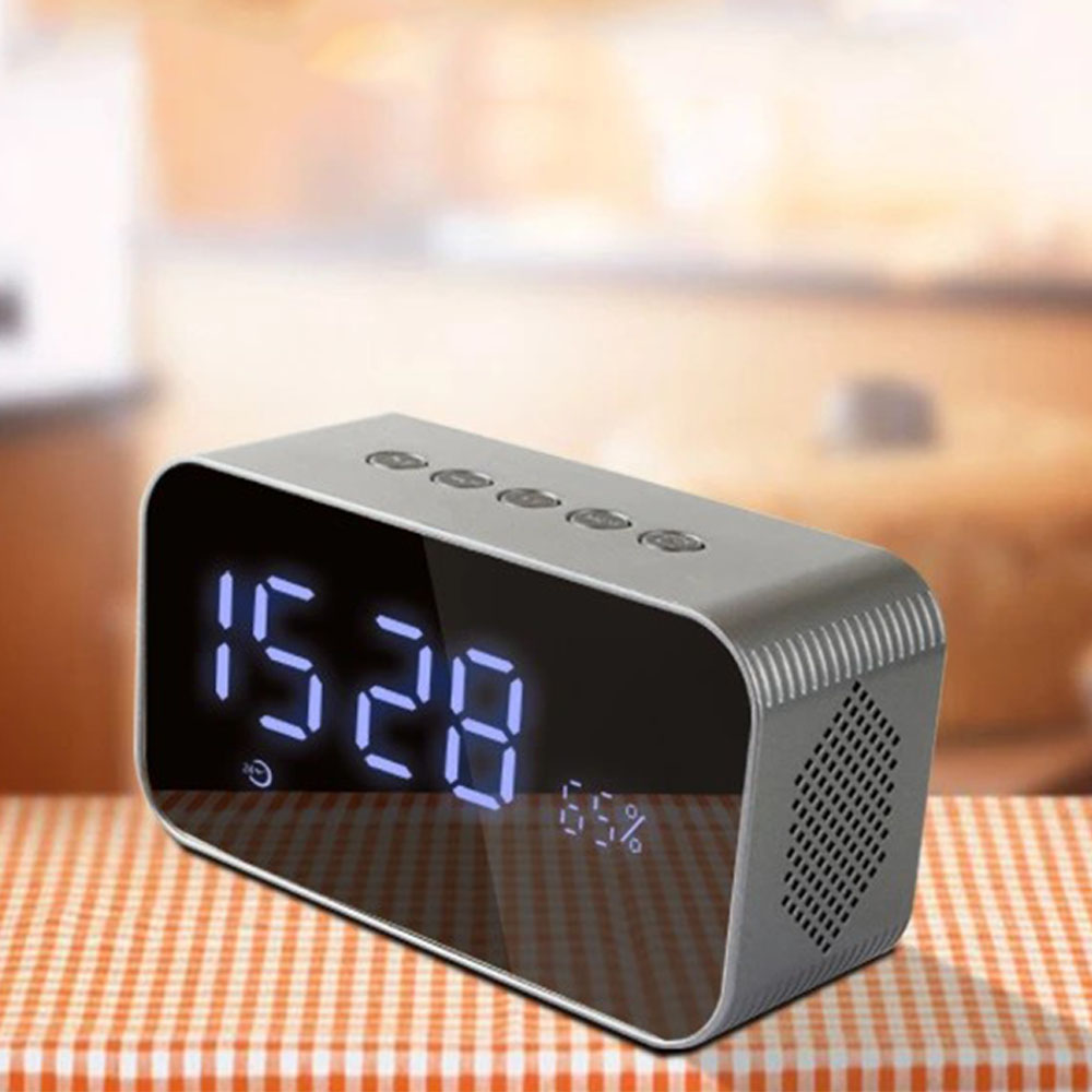 Wireless Bluetooth Speaker Stereo Music Soundbox With LED Time Display Clock Alarm Loud Hands-Free Speakers For Mobile Phone PC