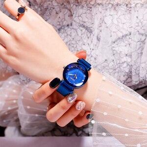 Image 2 - Mode Frauen Quart Uhr Luxus Starry Zifferblatt frauen Uhren Damen Kleid Armbanduhr Wasserdicht Armband Uhr Top Marke SKMEI