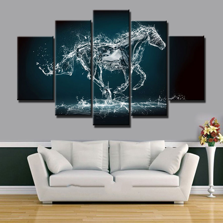 New design ideas modern home decor art painting horse picture 5 pieces canvas art prints picture for living room decoration in painting calligraphy from