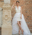 High Low Wedding Dresses 2016 Vestido De Noiva 2 in 1 V Neck Lace Beaded Sexy Backless Bridal Dresses With DetachableTrain