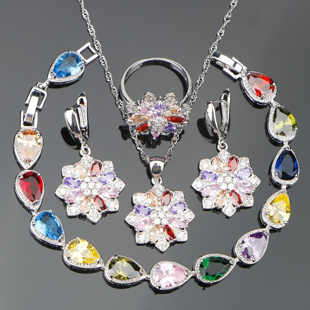 Wedding Silver 925 Bridal Jewelry Sets Women Earrings/Pendant/Necklace/Rings/Bracelet Set With Colorful Stones Jewelery Gift Box