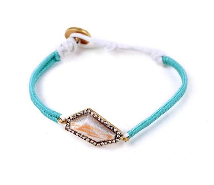 Handmade Manufacturer Sale Casual Style Female Irregular Gem Simple Light Blue Rope Braided Bracelet